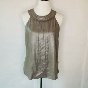 J.Crew Top Metallic Pleated Halter Neck Silk 8